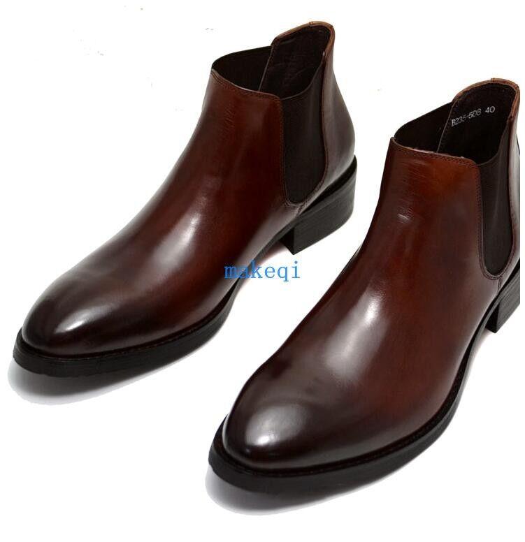 Mens Brogue Fashion Faux Leather Formal Dress Chelsea Boots shoes Ankle Boots Sz