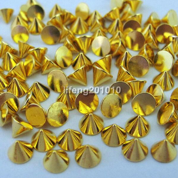 100PCS Cone Metallic nail art decoration rhinestone Studs Gold Silver Optional