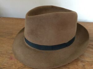 54b87fcc8 Details about Vintage Stetson Playboy Fedora Hat Brown w/ Black Band Mens  Size 7 50s 60s COOL