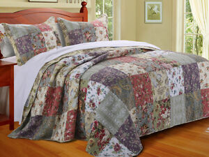 beautiful patchwork green ivory pink rose blue country cottage quilt rh ebay co uk