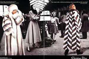 Details about 1986 Christian Dior Lynx Fox coat Furs MAGAZINE AD