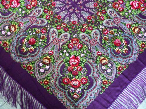 Russian Style PavlovoPosad Vintage Wool Shawl Scarf Roses Silk Fringe Purple 115