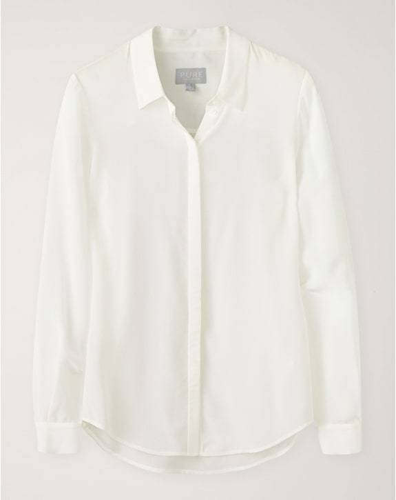 Pure Collection Washed Silk Blouse - Ivory - RRP