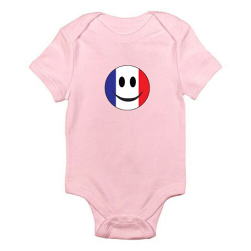 France Europe Themed Baby Grow//Romper FRENCH FLAG WITH SMILEY FACE European