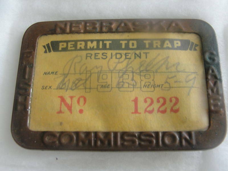 1938 NEBRASKA FISH & GAME COMMISSION LICENSE,PERMIT TO TRAP