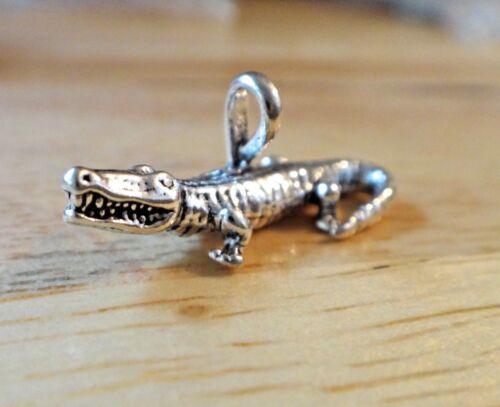 Sterling Silver 3D 24x10mm Alligator Crocodile Gator Charm!