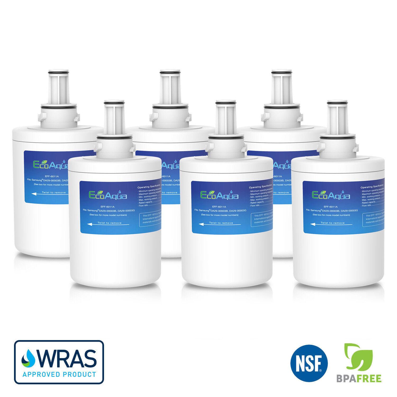 6 x Ecoaqua RSG5UUMH Ghiaccio & Acqua Frigo Filtro per Samsung Aqua pure Plus