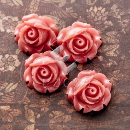12//24pcs Resin Flower Flatback Cabochons Cameo Scrapbooking Craft 15x15x8mm YB