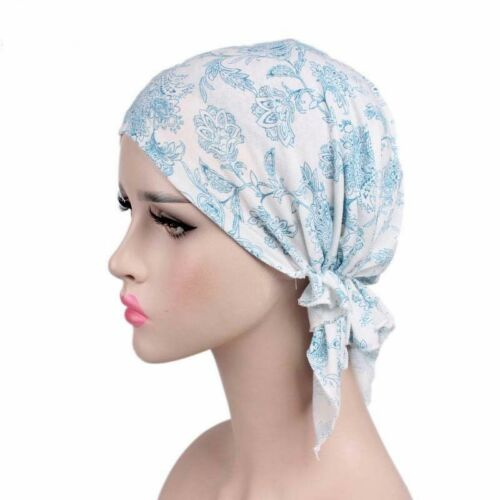 Women Pleated Floral Turban Cap Muslim Chemo Cancer Hat Beanie Wrap Head Scarf