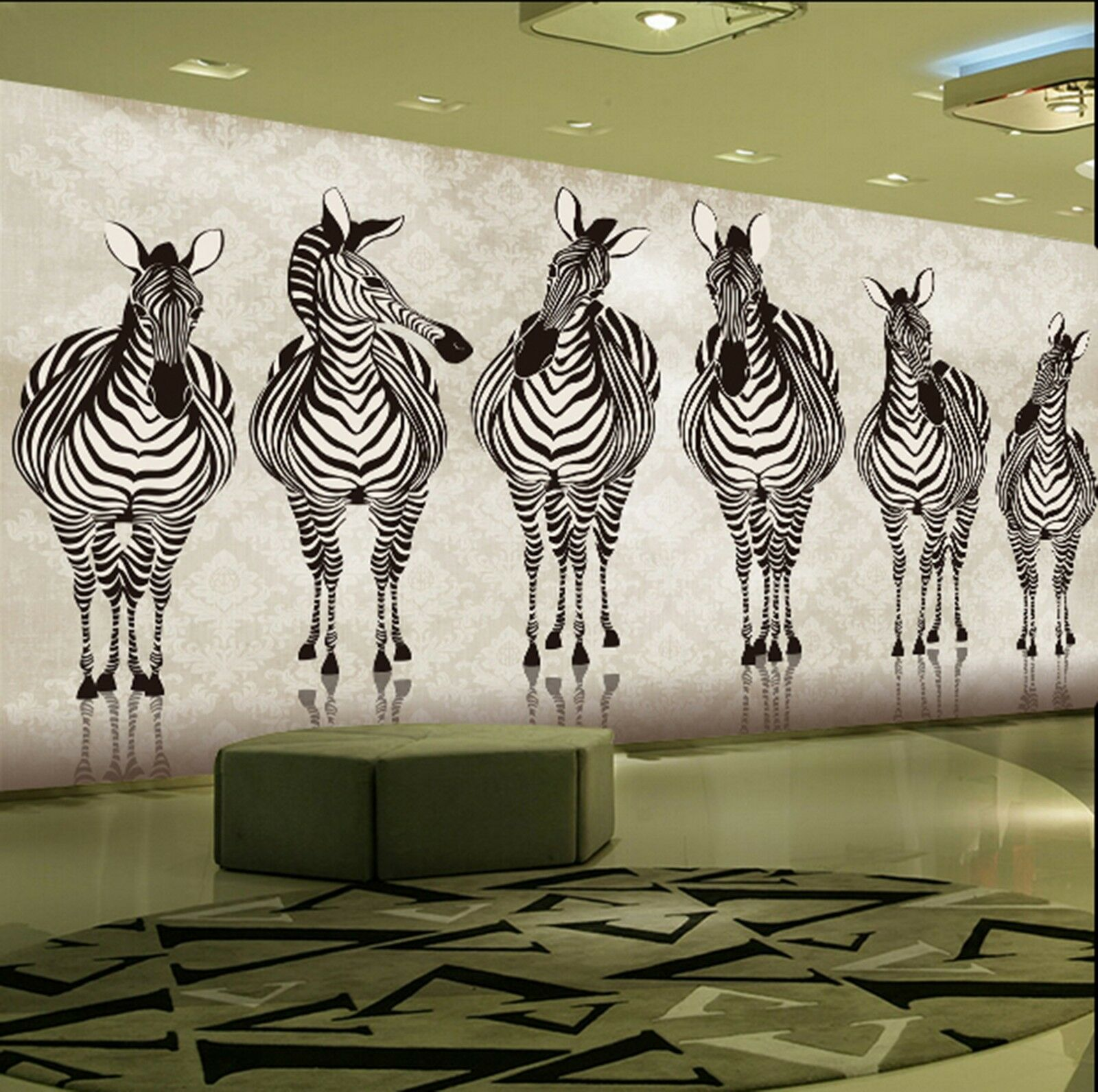 3D zebra Horses sketch Wall Paper Print Decal Wall Deco Indoor wall Mural