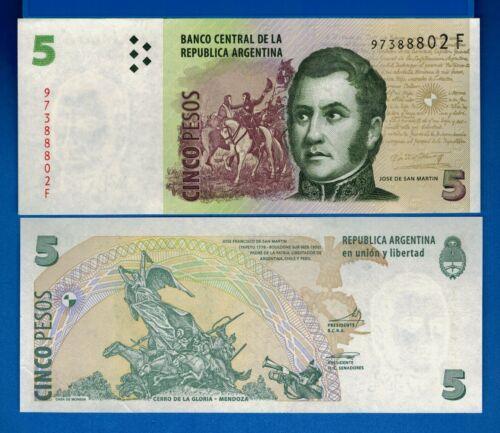 Argentina P-353 5 Pesos Year 2011 F Series Uncirculated Banknote