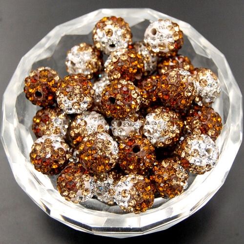 100pcs Quality Crystal Rhinestone Pave Clay Round Disco Ball Loose Beads 10mm