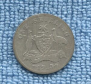 1915 One Shilling Sterling Silver Coin Australia KEY DATE  S-14