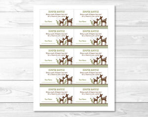 Details About Woodland Baby Deer Printable Baby Shower Diaper Raffle Tickets