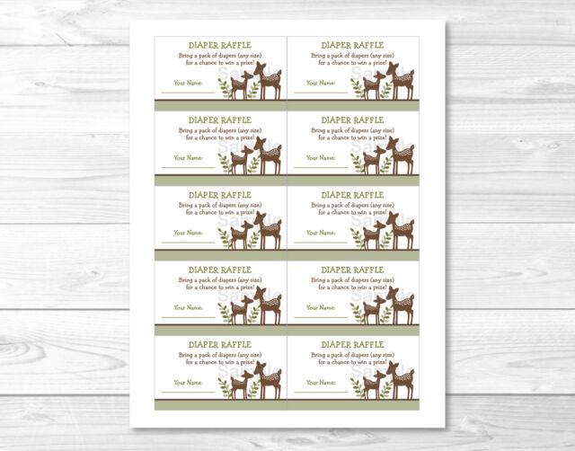 Woodland Baby Deer Printable Baby Shower Diaper Raffle Tickets