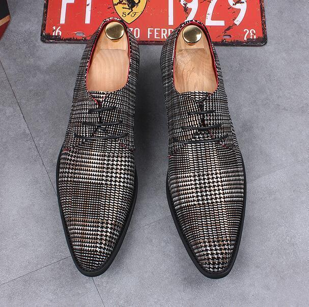 Mens Grids Printting Pointed Toe Lace Up Dress Formal shoes HIdden Heel British
