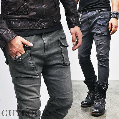 Vingtage Oil Washed Rugged Mens Military Slim Span Cotton Cargo Pants Guylook