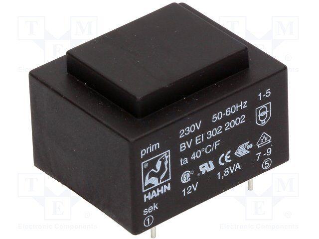 HAHN BVEI3078001 Print-Trafo 1,3VA 230V 12V 108mA Transformator 0,4W 856466