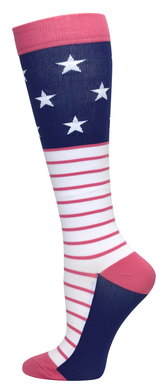2 Sizes! Stripe /& Dot Nurse Medical 8-14mmHG Compression Socks