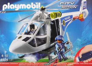 PLAYMOBIL-6874-Polizei-Helikopter-Winde-Polizist-Pilotin-elekt-Taschenlampe-NEU