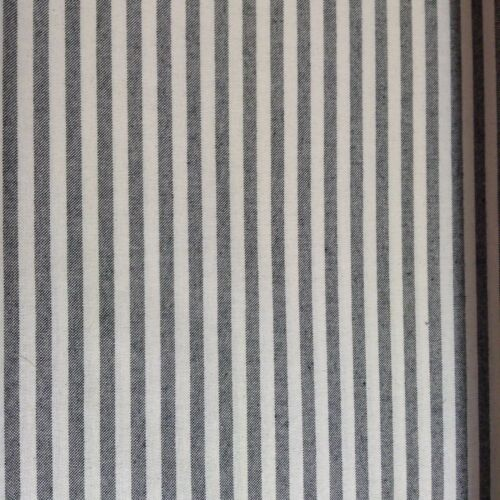 """Cambridge Ticking Stripe  Charcoal Grey /& Ivory 280cm//108/"""" Wide Curtain Fabric"""