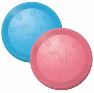 KONG-Flyer-Frisbee-Puppy-Small-Dog-Pink-or-Blue-Soft-on-Teeth-amp-Gums-18cm