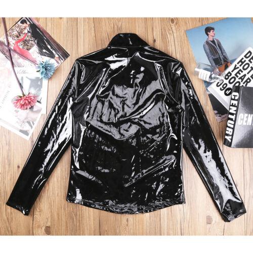 Men/'s Wetlook Metallic T Shirt Long Sleeve Zipper Top Coat Fancy Party Clubwear