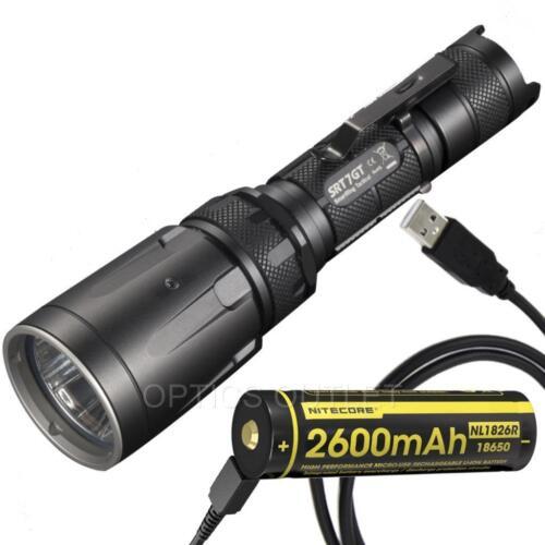 Nitecore SRT7GT 1000 Lumen Multi-Color LED Tactical Flashlight /& Battery Bundle