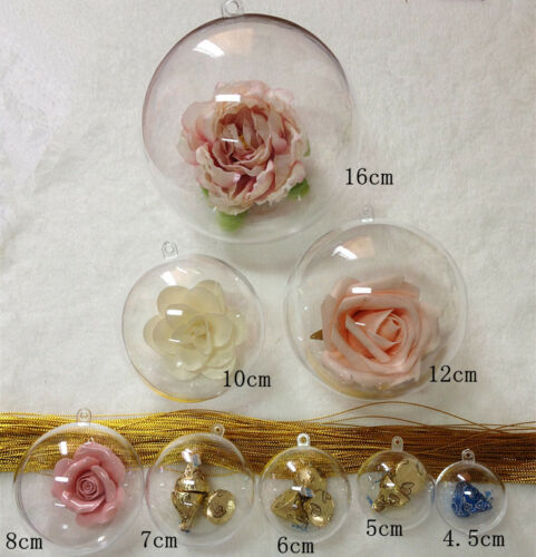 10//50PCS Ball Christmas Baubles Clear Fillable Xmas Tree Decoration Ornament ##