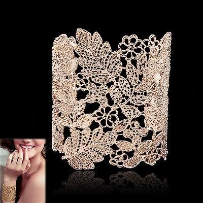 Hollow Lace Flower Leaf Grace Lady Bangle Bracelet Cuff Rose Gold GP Women Hot
