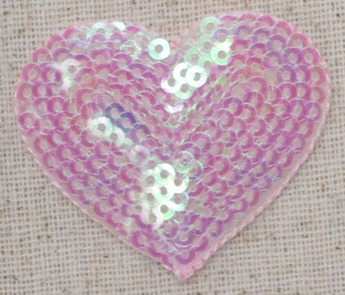 Medium Valentines Light Pink Sequin Heart Iron-On Applique//Embroidered Patch