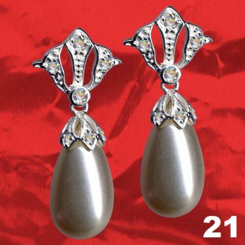 Mondäne Ohrringe Art Deko Jugendstil Echt 925 Sterling Silber Zirkonia Perlen