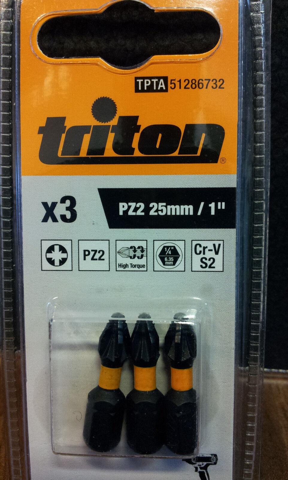 Pozidriv Schraubendreher Bits 3er Pckg PZ2 25mm BIT Bitsatz NEU Triton