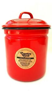 Country-Cook-Vintage-Red-Enamel-Ware-Canister-Farmhouse-Kitchen