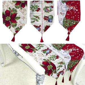 Christmas-Snowman-Polyester-Table-Runner-Xmas-Home-Tablecloth-Party-Decor-71x13-034
