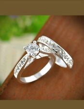 Womens Engagement Wedding Ring Cubic Zirconia Silver Plated 2 PC SET Size 8