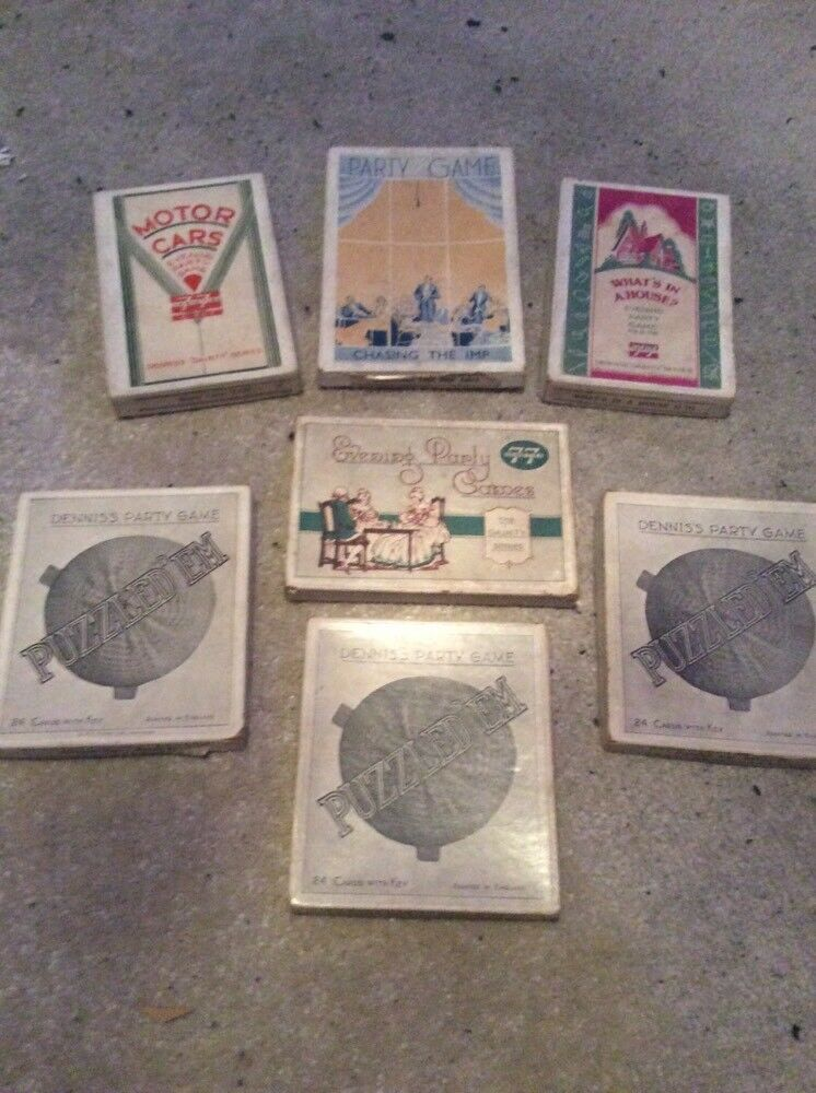 6 vintage 30-50s evening party game sets