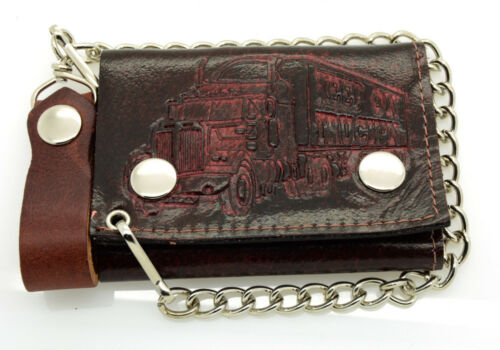 Biker Chain Wallet Genuine Leather Tri Fold Brown//Red 13 Designs Made in USA