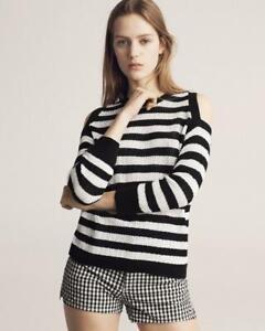 Rag-amp-Bone-Jeans-225-Black-amp-White-Tracy-Crew-Striped-Cold-Shoulder-Knit-Top-S