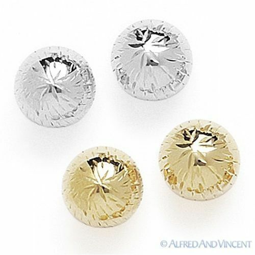 14kt Yellow or White Gold Stud Earrings 14k Diamond-Cut Detail Ribbed Ball Studs