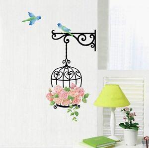 Bird Cage Rose Flower Blue Bird Wall Decal Sticker Home
