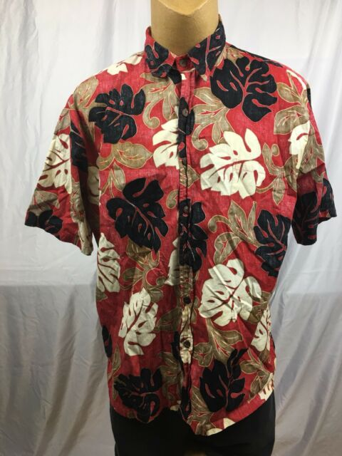 Koa Road Hawaiian Flower Leaf Aloha Mens Reverse Print Camp Shirt 2XL