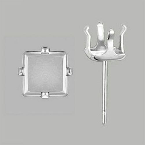USA Sterling Silver Square 4 Prong Ear ring findings Snap Tite 4Pack