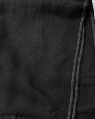 Negro Medianoche 100/% Lino Tejido de peso medio 130 X .5m