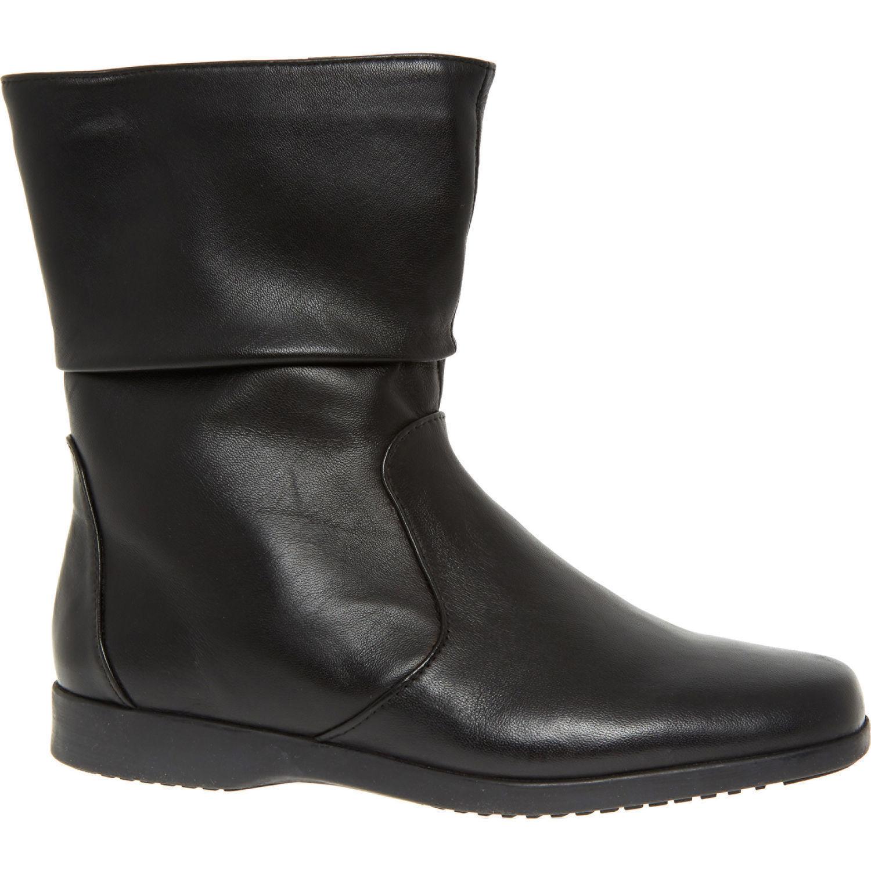 Clarks Mujer Molena Georgia Corte Ancho botas de Cuero Negro