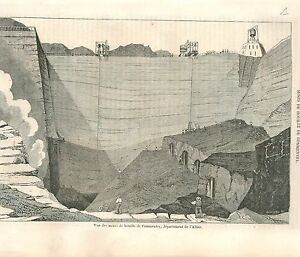 Mines-de-Houille-a-Commentry-Allier-France-GRAVURE-ANTIQUE-OLD-PRINT-1835
