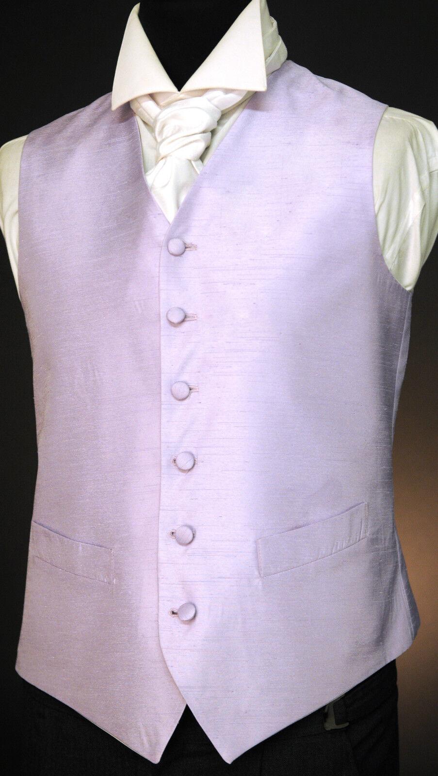 Solid Lilac Dupion waistcoat - wedding / dress / suit / party W - 463.
