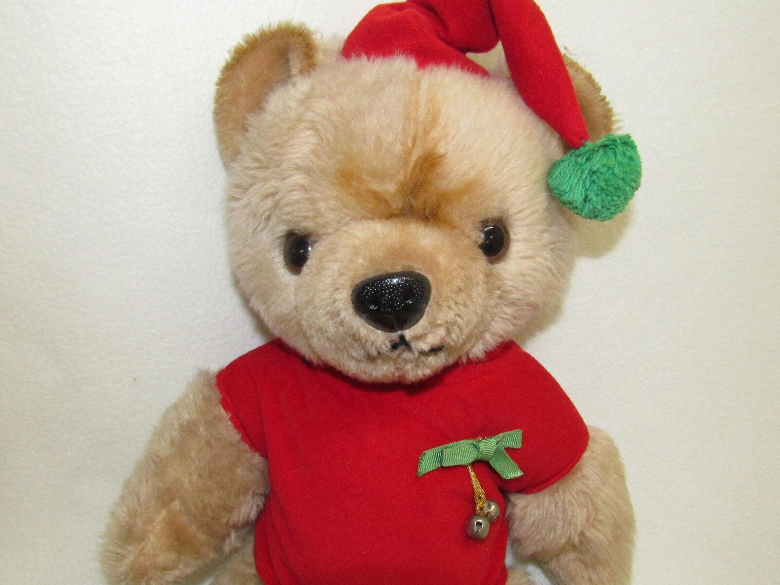VTG VTG VTG MON PETIT CHOU LTD CHRISTMAS TEDDY BEAR JOINTED PLUSH f7f454