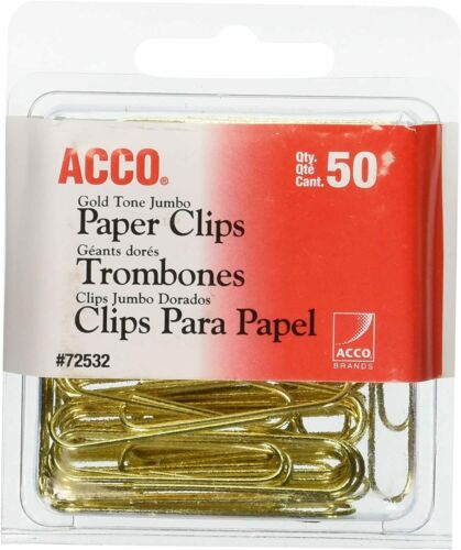 ACCO Paper Clips Jumbo Smooth 50 Clips//Box Gold Tone Paper Clips Gold