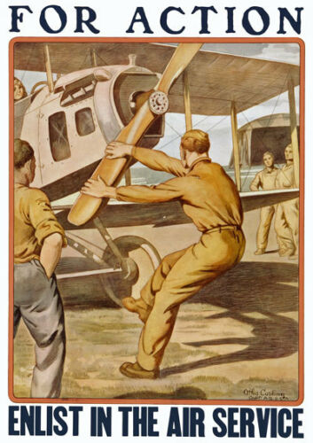 W27 Vintage WWI US Army Enlist In The Air Service War Poster WW1 A1 A2 A3